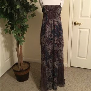 Zara Basic Brown Sheer Overlay Maxi Dress Medium